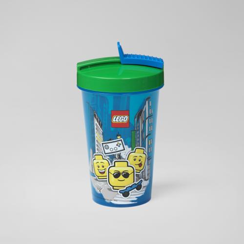LEGO Drinkbeker met rietje - Boy - 4044 (blauw/groen)