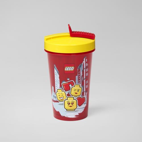 LEGO Drinkbeker met rietje - Girl - 4044 (rood/geel)